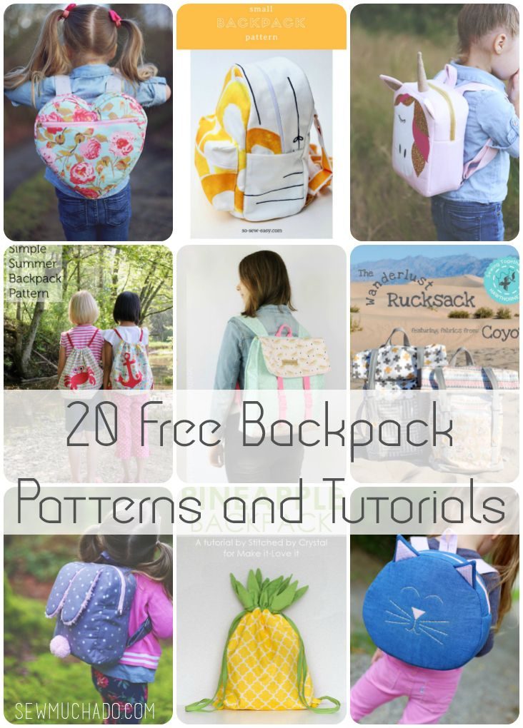 20 Free Backpack Patterns and Tutorials - the BEST list! #backpackpattern #sewingtutorial #sewmuchado #diybackpack
