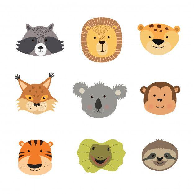 Vetorial Ilustracao De Animal Caras Animal Illustration Animal Faces Face Vector