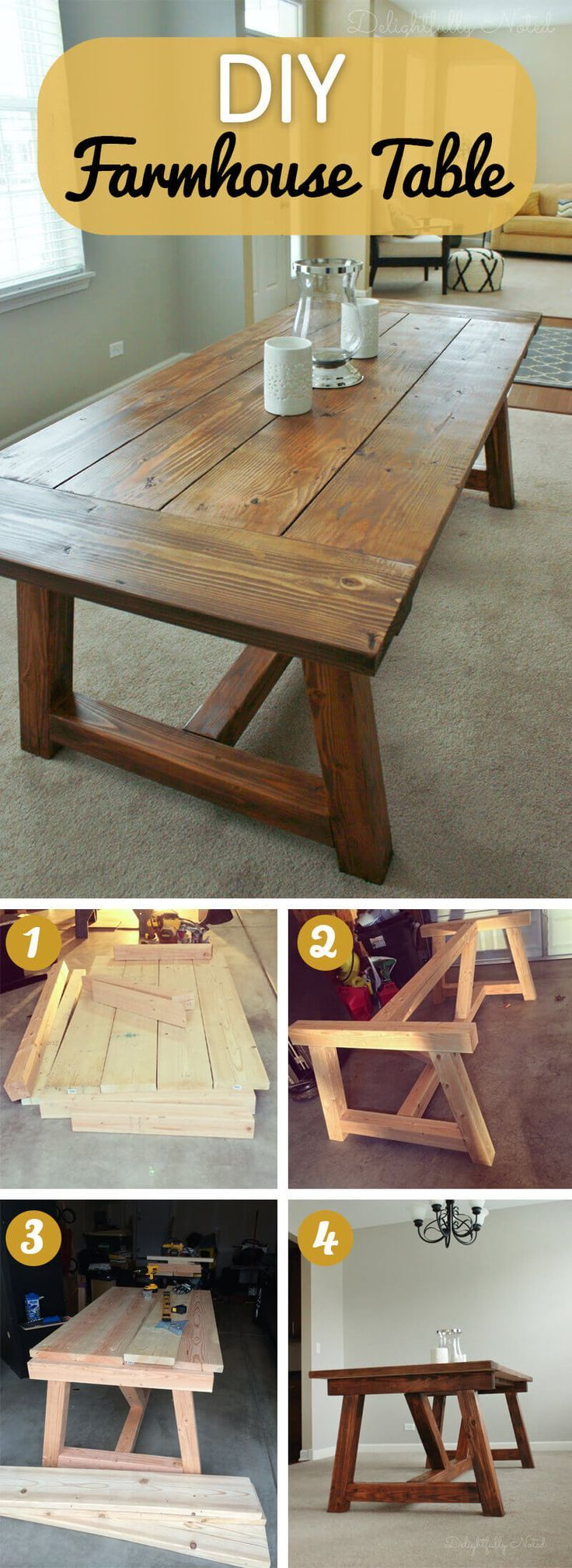 15+ Rustic DIY Farmhouse Table Ideas For Your Dinning Room