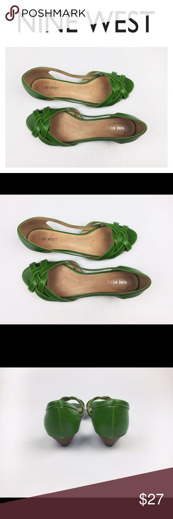 NINE WEST FLAT GREEN SANDALS SZ11 Super cute Nine West flat green leather sandals in size 11. VERY gently worn maybe 3 times or less. Excellent condition! Love them? Make an offer! Questions? Ask me 💖😉 Nine West Shoes Sandals