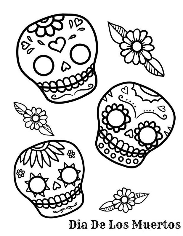 free day of the dead sugar skull coloring page - Sugar Skulls Coloring Pages Free