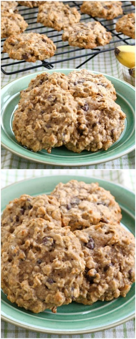 Banana Oatmeal Chocolate Chip Cookies on twopeasandtheirpod.com A great way to use up brown bananas! We love these cookies!