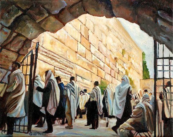 Jeruzalem westelijke muur art print van olieverfschilderij Judaïca kunst jodendom Jeruzalem bekijken kotel Joodse kunst Israëlische kunstschilder