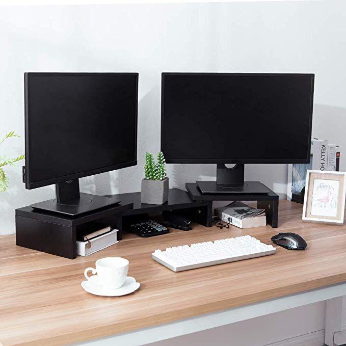 Superjare Dual Monitor Stand Riser In 2020 Dual Monitor Stand Monitor Stand Monitor Stand Diy