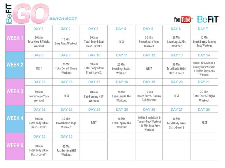 BeFiT GO | Bikini Body Mobile Workouts calendar. https://www.youtube.com/playlist?list=PL1c41tQdiDhP6F885DLRTMMteM5-8m3hr