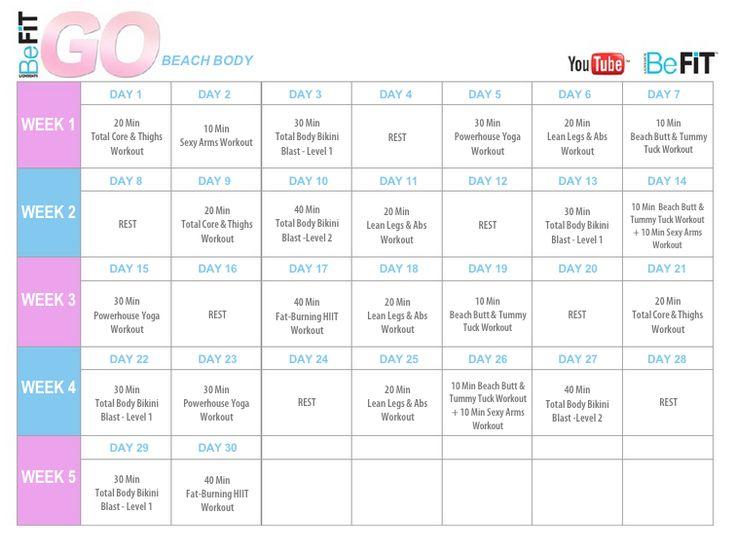 BeFiT GO | Bikini Body Mobile Workouts calendar. https://www.youtube.com/playlist?list=PL1c41tQdiDhP6F885DLRTMMteM5-8m3hr