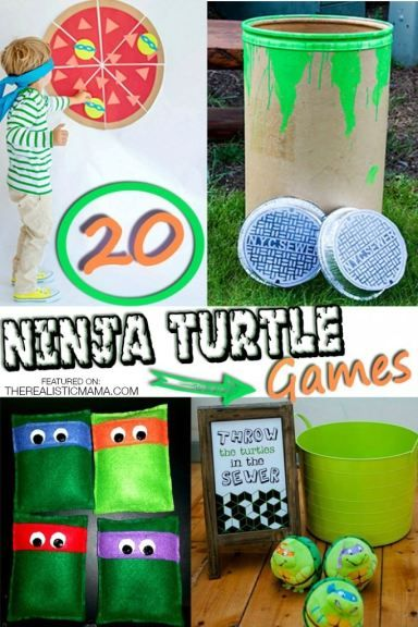 Ninja turtle games. Pin the turtle on the pizza, Ninja Turtle beanbag toss... lots of creative party ideas.