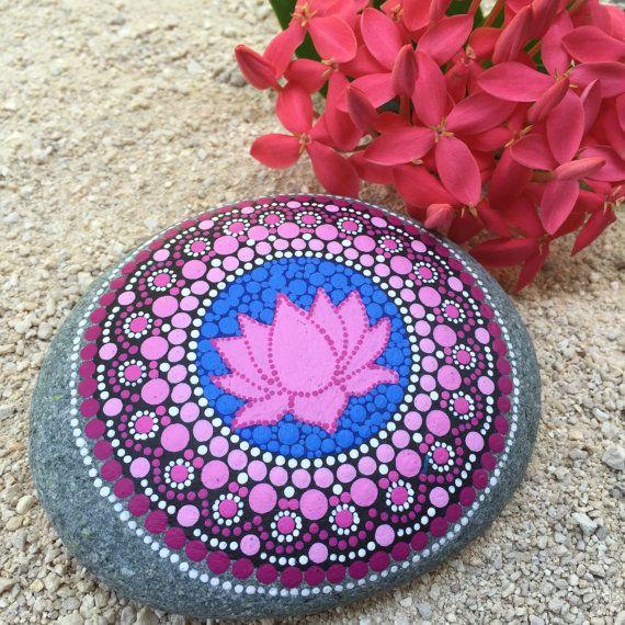 Lotus Blossom, Shades of Pink Dot Painted Stone, Original Hand Painted Rock Art, Mandala Stone, Nature Art, Large Stone