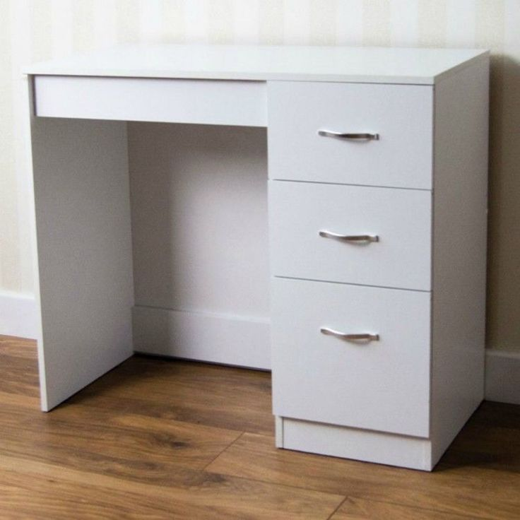 DRESSING TABLE WHITE 3 DRAWER WOOD WIPE DRY CLOTH DAUGHTER ROOM FREE UK DELIVERY