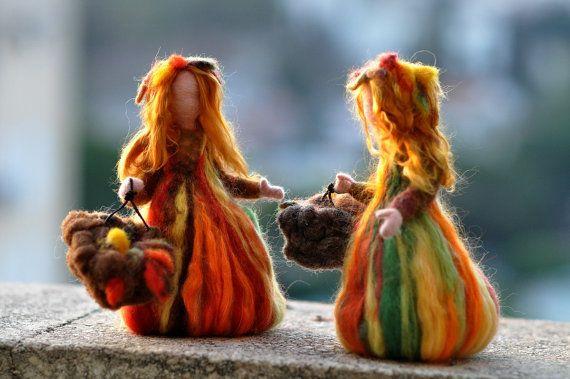 Needle Felted Doll Waldorf  Fairy Autumn .Made to por darialvovsky
