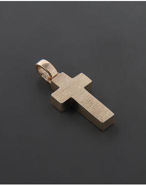 Σταυρός βαπτιστικός ροζ Χρυσό Κ14