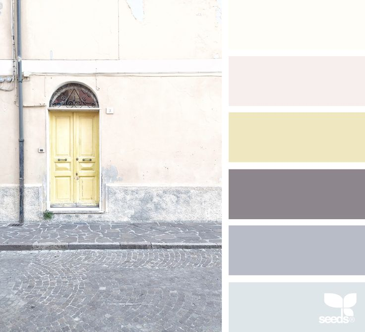 A Door Hues via @designseeds #seedscolor #color #colorpalette #color #palette #pallet #colour #colourpalette #design #seeds #designseeds #wander #wanderlust #pastel #pastels #yellow #gray #grey #charcoal