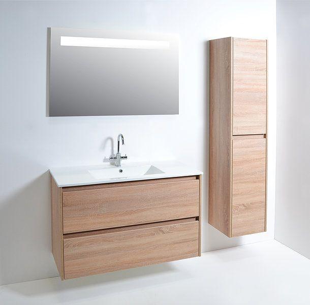 Basic line Sence! porselein - wit - - eiken - hoogglans - softclose - spiegel - badkamer - badmeubel - badkamermeubel - basic line
