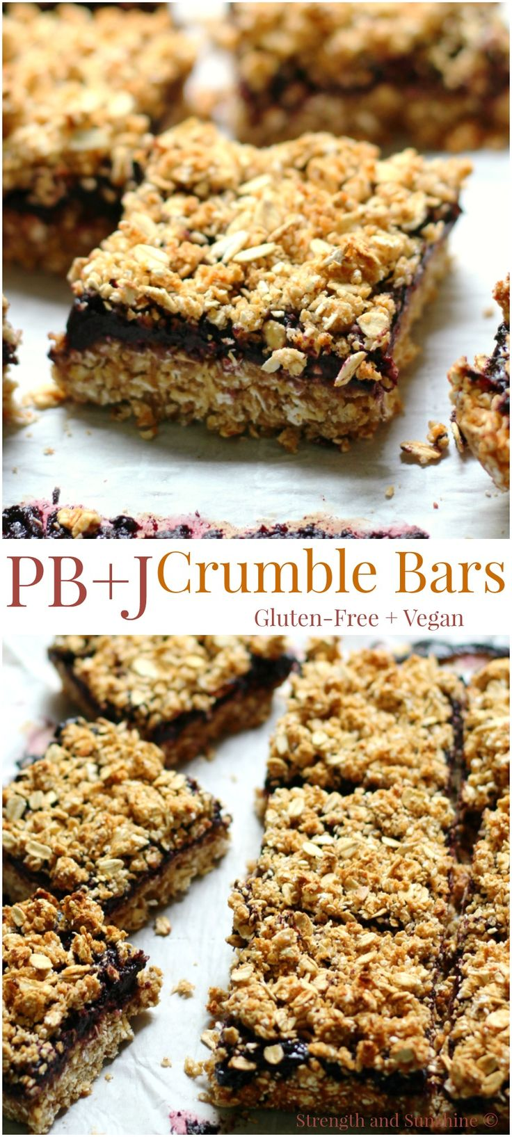 Featured at #CreateItThursday: Peanut Butter & Jelly Crumble Bars | Strength and Sunshine @RebeccaGF666 Everyone's childhood favorite sandwich baked into a delicious gluten-free and vegan bar! Peanut Butter & Jelly Crumble Bars that can be eaten for breakfast, lunch, as a snack, or dessert! This healthy bar recipe will have you ditching the bread!