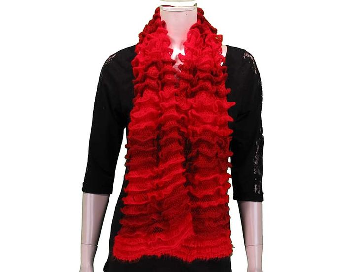 Red This Ruffled Tube Scarf can be worn as a shorty infinity, or as a long scarf. Ruffled layers provide extra softness and lightness to the scarf, with beautiful colours to match any outfit! Available in Black, White/Grey, Pink, Coral, Red, Mint, Royal.