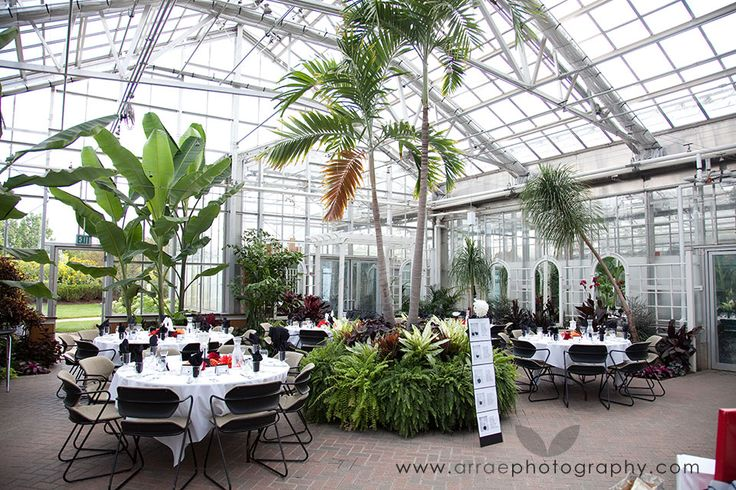 Seasonal display greenhouse wedding reception at frederik Frederik meijer gardens