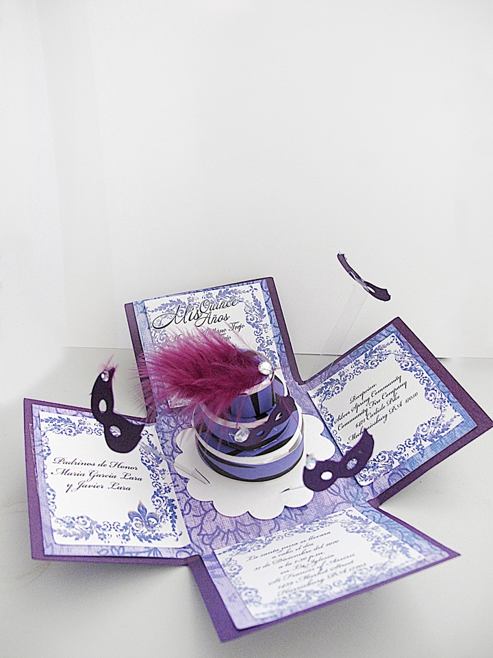 Masquerade invitations exploding box quinceaneras pinterest invitations boxes and for Maquerade invitations
