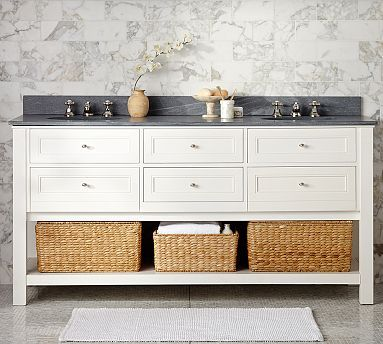 Classic Double Sink Console  White  Carrara Marble   Chrome Finish Knobs18 best 66  Sink Vanity images on Pinterest   Double sinks  Bath  . 66 Double Sink Vanity. Home Design Ideas