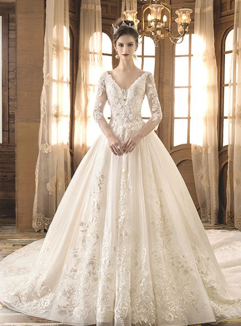 Light Champagne Ball Gown Tulle Appliques Deep V-neck Long Sleeve Wedding Dress