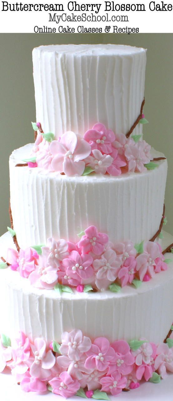 Beautiful Buttercream Cherry Blossom Cake Video Tutorial by http://MyCakeSchool.com! (member section) Online Cake Decorating Tutorials & Recipes!