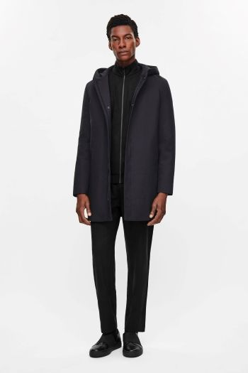 COS image 1 of Padded cotton parka in Navy