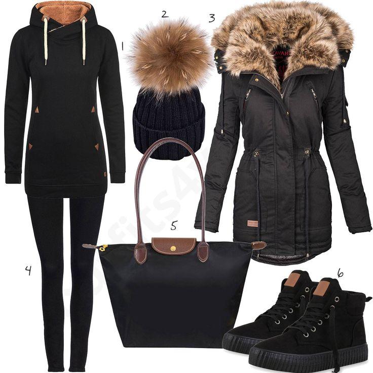 Schwarzes Outfit mit Fellkragen und Bommelmütze (w0763) #hoodie #mantel #sneaker #jeans #outfit #style #fashion #womensfashion #womensstyle #womenswear #clothing #frauenmode #damenmode #handtasche #inspiration #frauenoutfit #damenoutfit