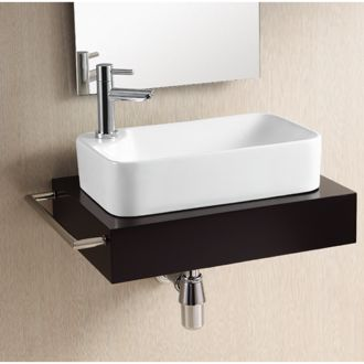 Bathroom Sink Rectangular White Ceramic Vessel Bathroom Sink Caracalla Ca4121