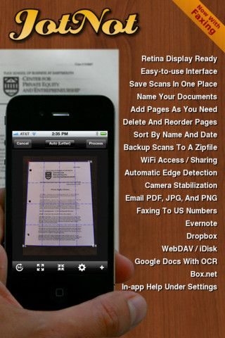 Jotnot: turn your iPhone into a scanner.