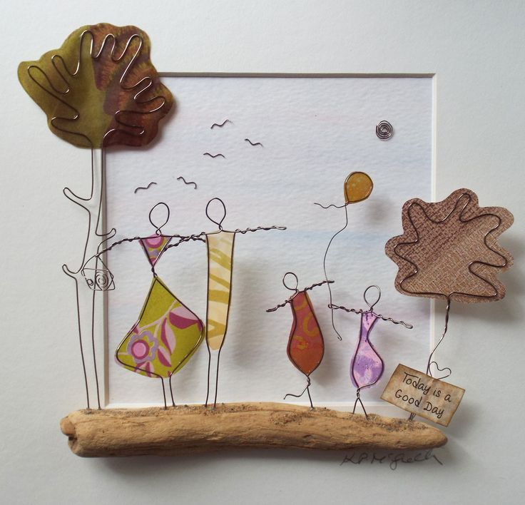 Wire Art: Copper Wire, Paper & Driftwood.