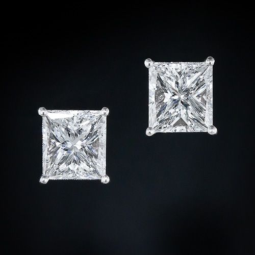 3.02 Carat Princess-Cut Diamond Ear Studs - 20-91-663 - Lang Antiques