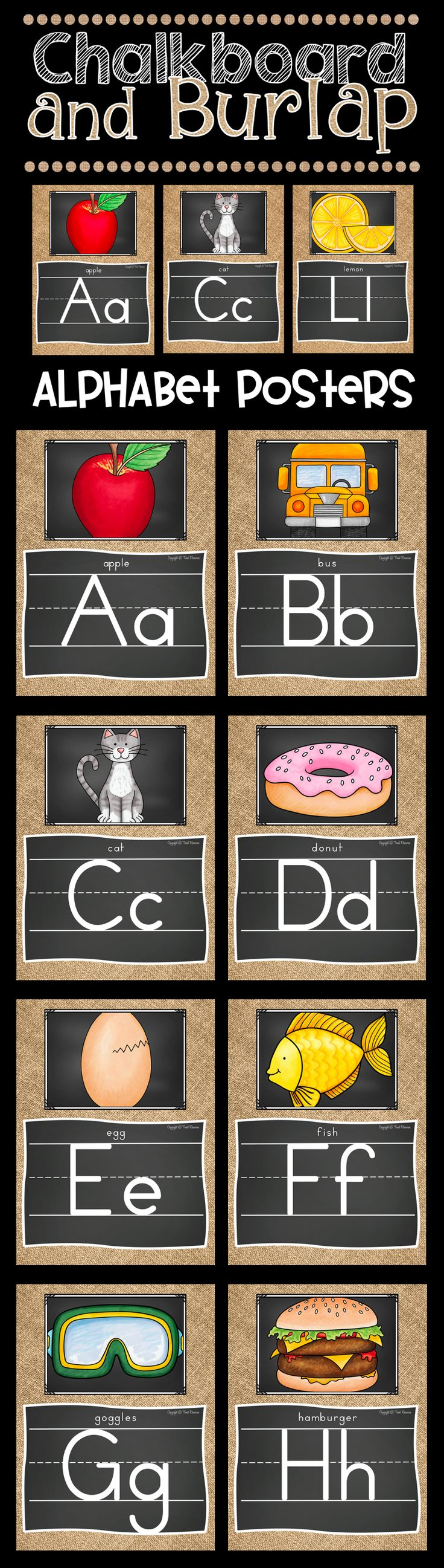 How adorable are these chalkboard and burlap alphabet posters? I just love the shabby chic decor style! I can't wait to decorate my classroom this year!!!!!