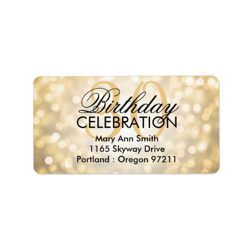 Address 30th Birthday Party Gold Glitter Lights Label In 2018