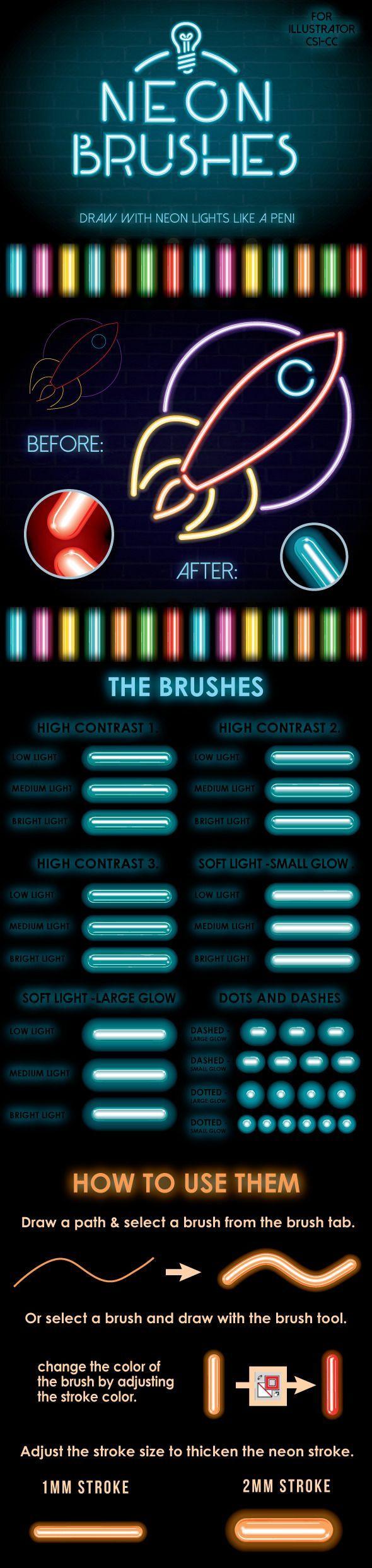 Neon Brushes For Adobe Illustrator #design #ai Download: http://graphicriver.net/item/neon-brushes/13195623?ref=ksioks