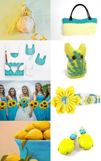 I love yellow and turquoise by Sonia Caporali on Etsy--Pinned with TreasuryPin.com