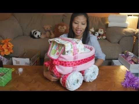 Baby Carriage Diaper Cake (How To Make) video