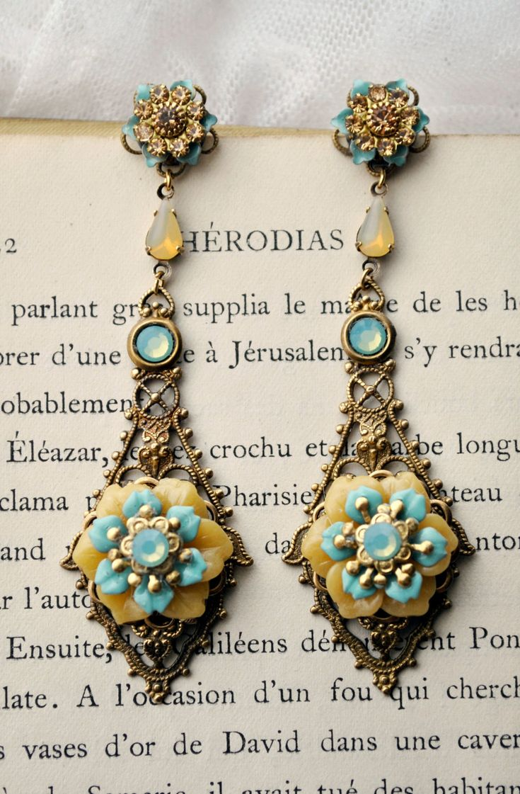 Pastel Paradise - very long dangle earrings featuring Celadon sea foam blue and sunshine yellow celluloid  flowers on antique gold filigree by MoodsWingz on Etsy