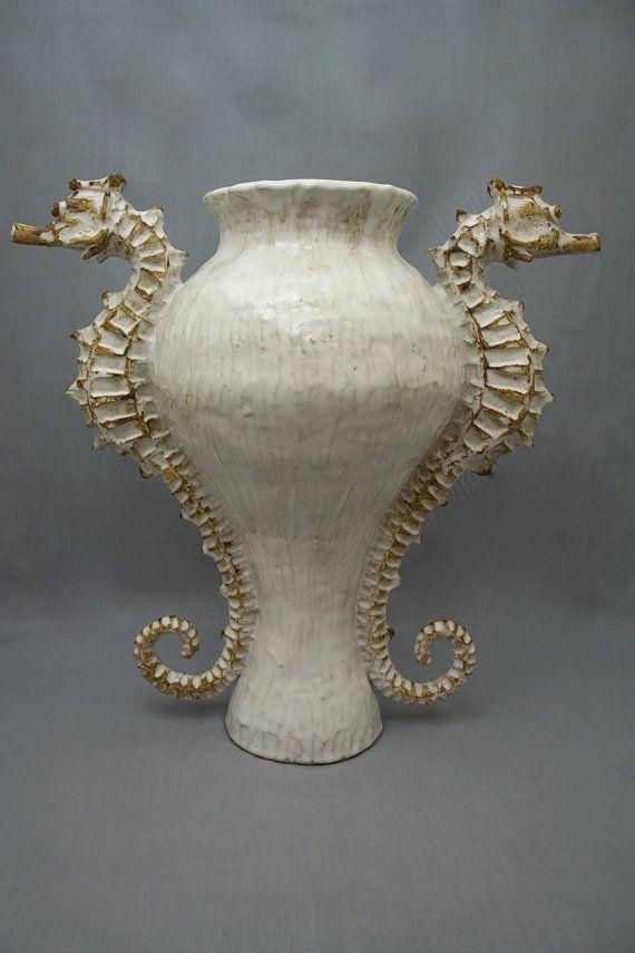 Large Ceramic Seahorse Vase / Urn by Shayne Greco di shaynegreco