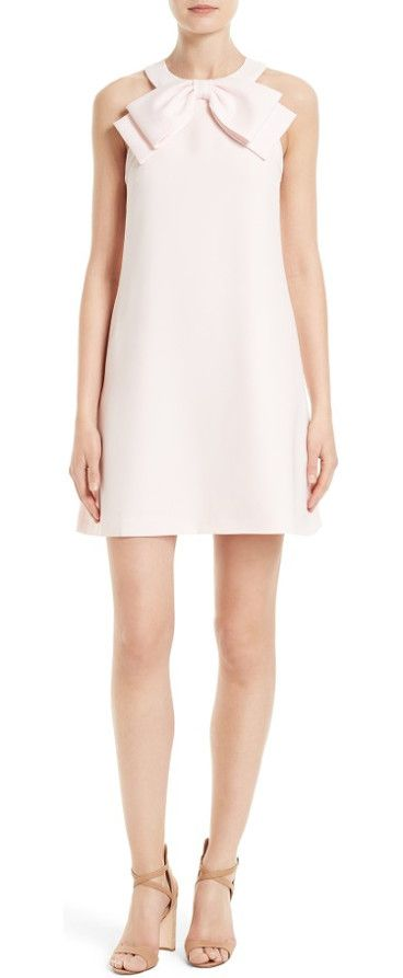trixia bow neck a-line dress by Ted Baker London. Abounding with ladylike charm, an A-line shift gets a face-framing focal point from a sweet bow over a cutaway halter...