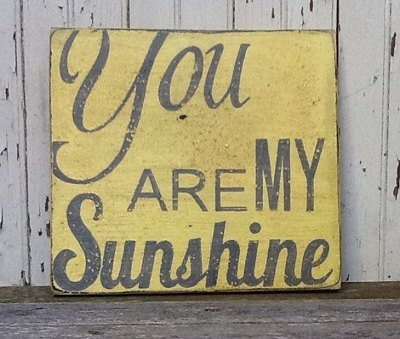 You Are My Sunshine, Handpainted Distressed Wooden Sign, Yellow with Grey lettering, Great Photo Collage
