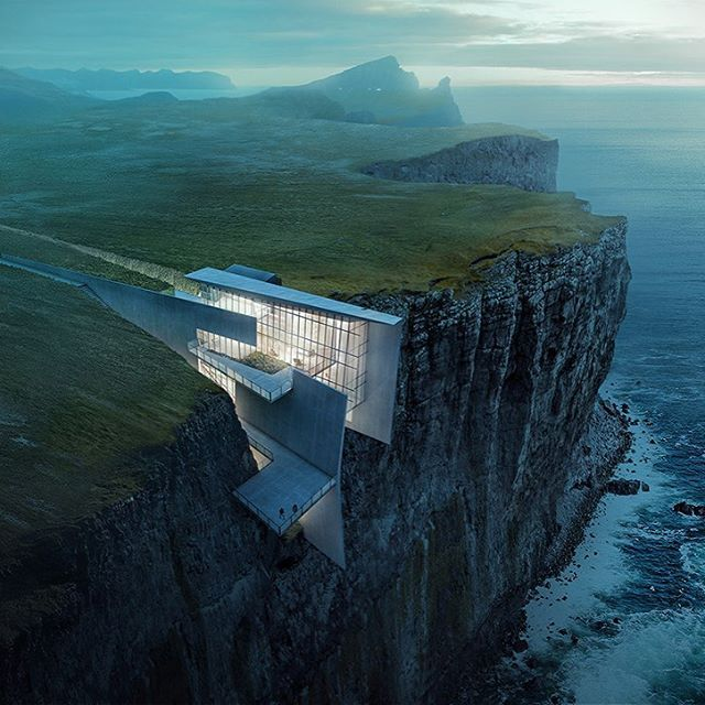 Taking a look at this amazing cliffside home in Iceland