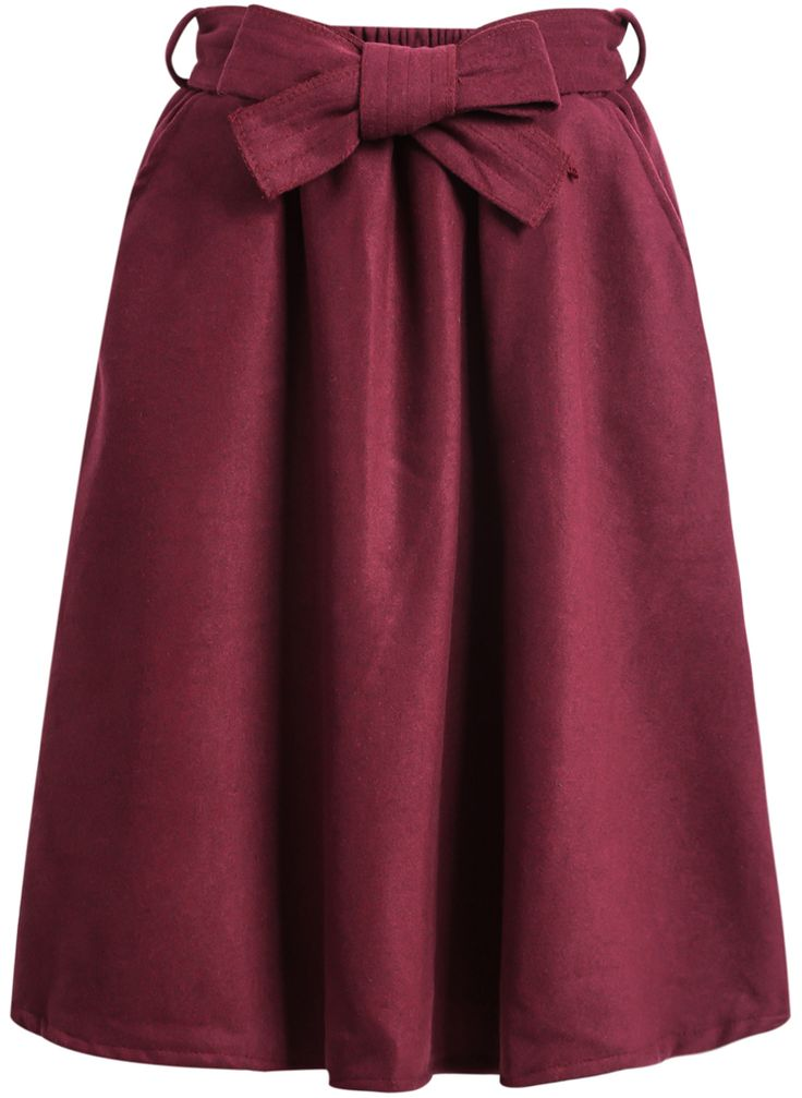 Shop Wine Red Bow Woolen Skirt online. Sheinside offers Wine Red Bow Woolen Skirt & more to fit your fashionable needs. Free Shipping Worldwide!