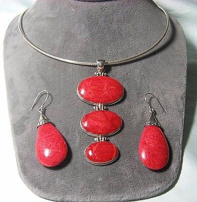 925-Sterling-Silver-Necklace-w-Red-Sponge-Coral-Sets-necklace-18-end-to-end