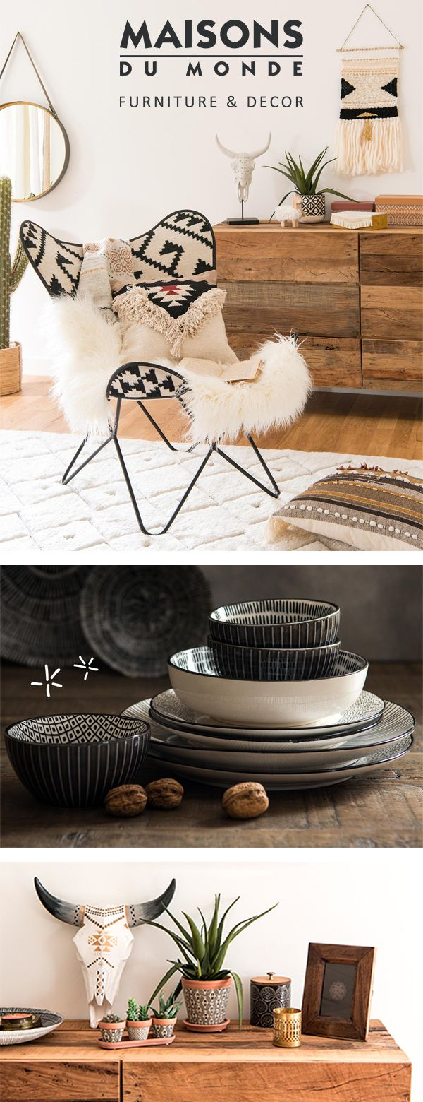 Explore the world with bohemian spirits! Don't let the cold winds stop you travelling. The Nordic Escape look takes inspiration from around the world, combining Scandinavian accents with bohemian to set you on your travels. Picture this. There's eclectic motifs and warm tones all wrapped up in natural materials. Bon voyage! | Maisons du Monde