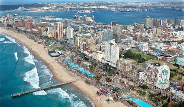 Durban seafront - the Golden Mile - the harbour in the background ...