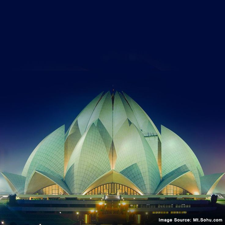 The Lotus temple is one of the most popular landmarks of New Delhi, notable for its flowerlike shape.