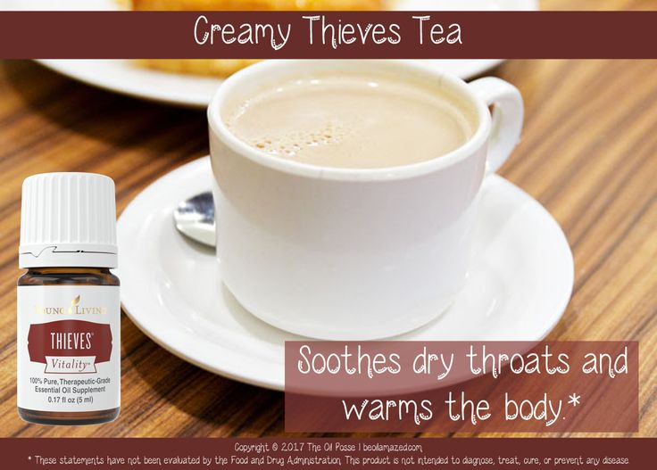 Creamy Thieves Tea recipe using Young Living's Thieves Vitality essential oil blend.