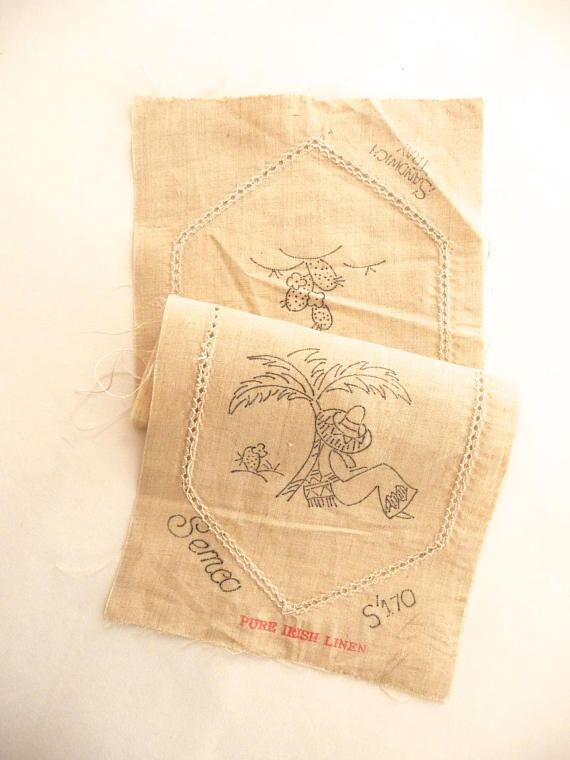 Semco Embroidery Mexican Design Linen Doily Vintage New