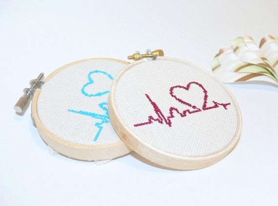 items similar to cross stitch in wooden hoop turquoise heart in palpitation on etsy