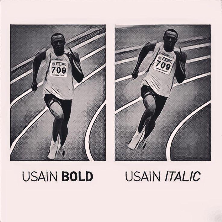 "Picture of the day... ""Usain Bold"" at Rio 2016 Typographical Games ! L'image du jour... ""Usain Bold"" aux jeux typographiques de Rio ! Source: https://www.facebook.com/grapheine/posts/1057106701040860:0"
