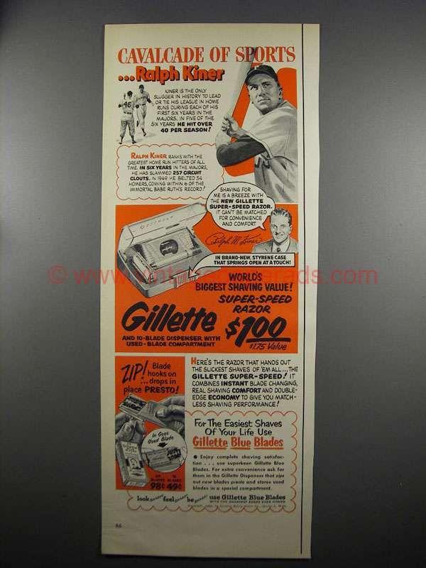 1952 Gillette Super-Speed Razor Ad - Ralph Kiner